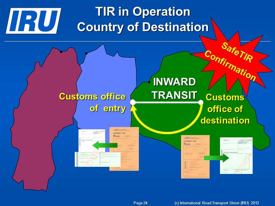 INWARD TRANSIT Customs office of destination Customs office of entry TIR in Operation Country of Destination SafeTIRConfirmation Page 24 (c) International Road Transport Union (IRU) 2012