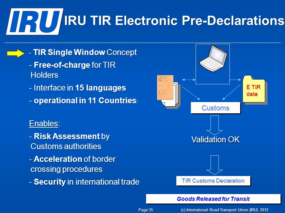 IRU TIR Electronic Pre-Declarations CustomsCustoms E TIR data Validation OK TIR Customs Declaration Goods Released for Transit - TIR Single Window Concept - Free-of-charge for TIR Holders - Interface in 15 languages - operational in 11 Countries : Enables: - Risk Assessment by Customs authorities - Acceleration of border crossing procedures - Security in international trade Page 35 (c) International Road Transport Union (IRU) 2012