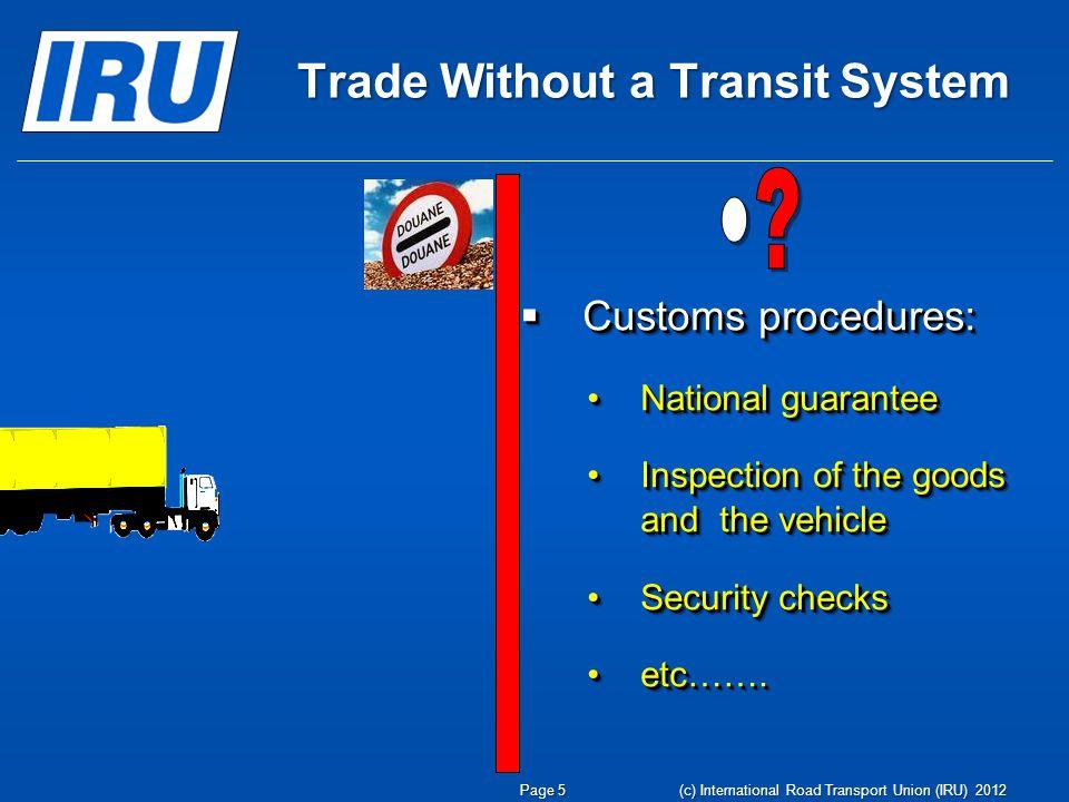  Customs procedures: National guaranteeNational guarantee Inspection of the goods and the vehicleInspection of the goods and the vehicle Security checksSecurity checks etc…….etc…….