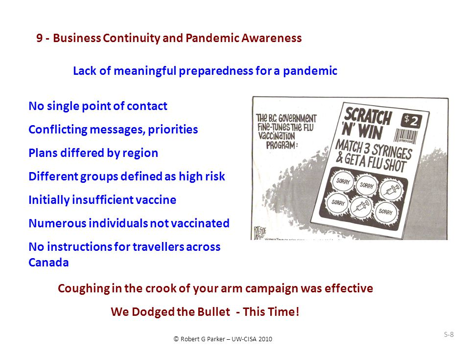 © Robert G Parker – UW-CISA 2010 S-8 9 - Business Continuity and Pandemic Awareness Lack of meaningful preparedness for a pandemic No single point of