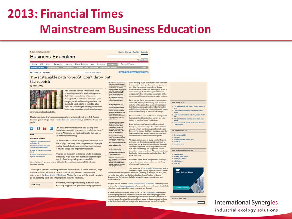 2013: Financial Times Mainstream Business Education