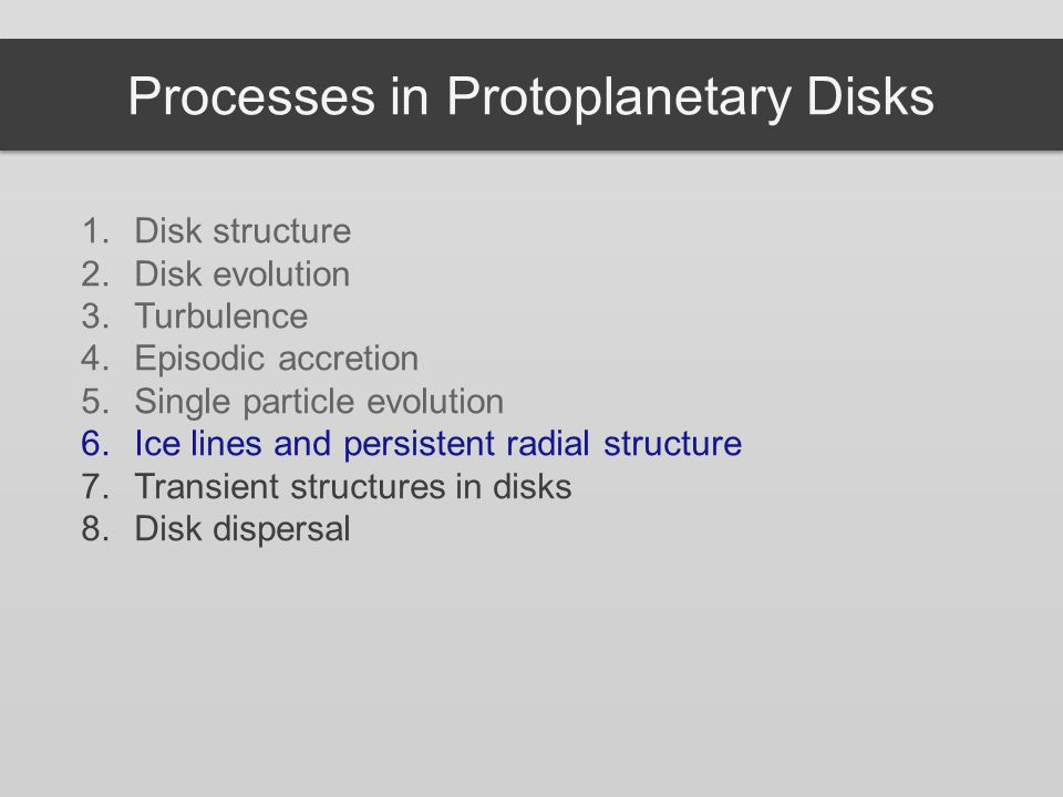 Processes in Protoplanetary Disks 1.Disk structure 2.Disk evolution 3.Turbulence 4.Episodic accretion 5.Single particle evolution 6.Ice lines and persistent radial structure 7.Transient structures in disks 8.Disk dispersal