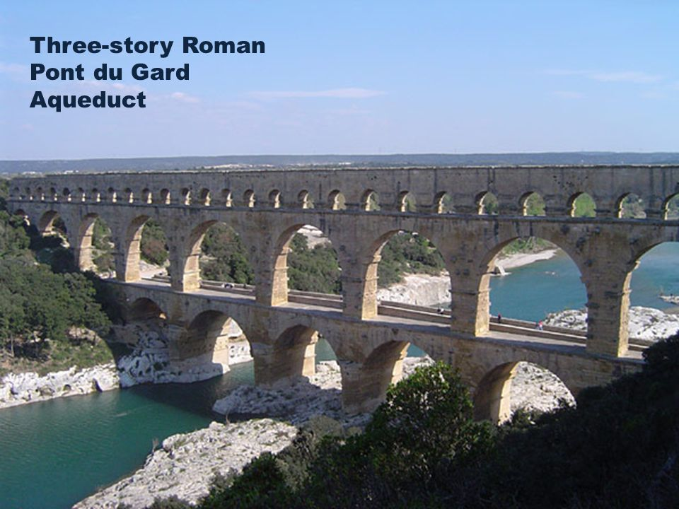 Three-story Roman Pont du Gard Aqueduct