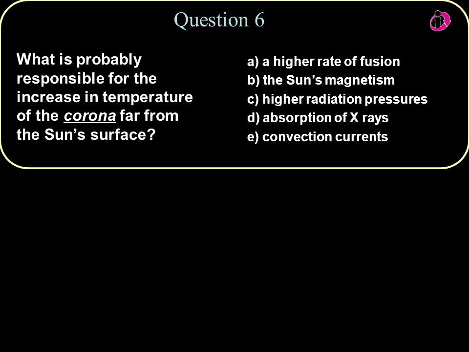 Copyright © 2010 Pearson Education, Inc. Question 6 What is probably responsible for the increase in temperature of the corona far from the Sun's surf