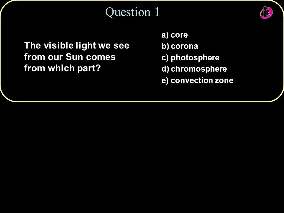 Copyright © 2010 Pearson Education, Inc. Question 1 a) core b) corona c) photosphere d) chromosphere e) convection zone The visible light we see from