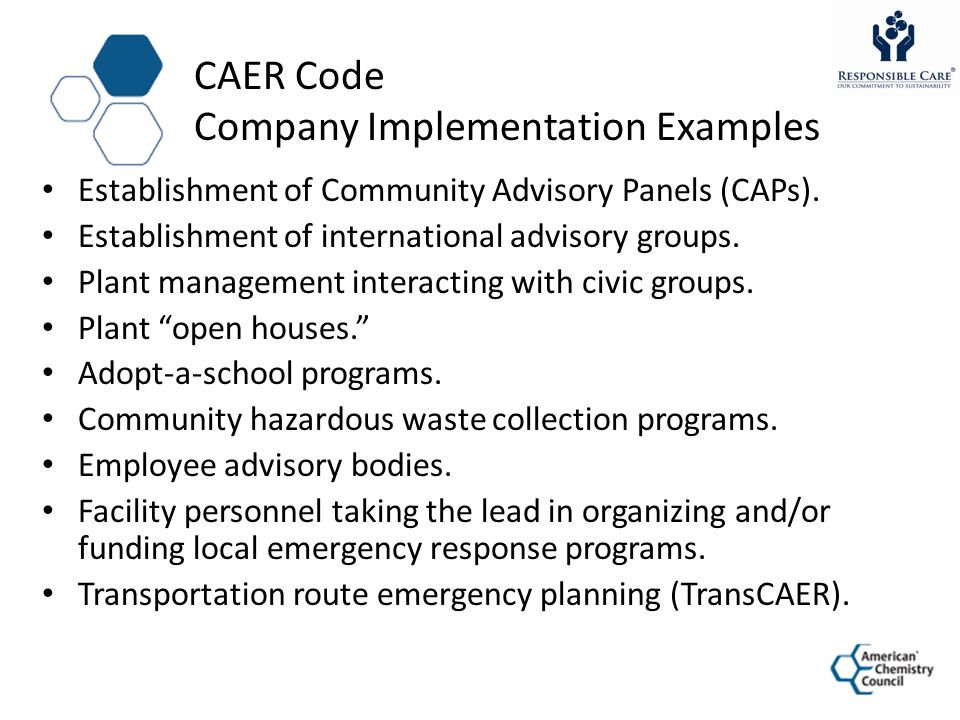 CAER Code Company Implementation Examples Establishment of Community Advisory Panels (CAPs).