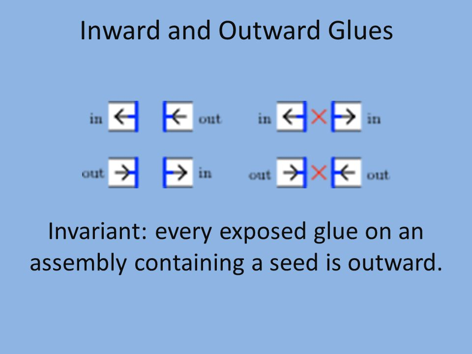 Inward and Outward Glues Invariant: every exposed glue on an assembly containing a seed is outward.