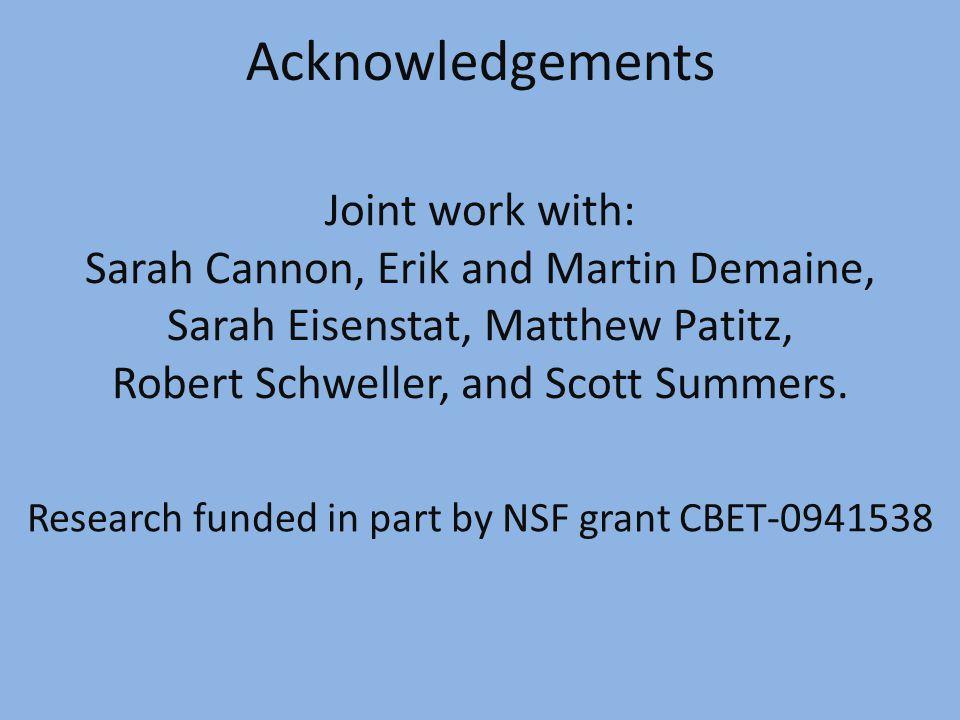 Acknowledgements Joint work with: Sarah Cannon, Erik and Martin Demaine, Sarah Eisenstat, Matthew Patitz, Robert Schweller, and Scott Summers.