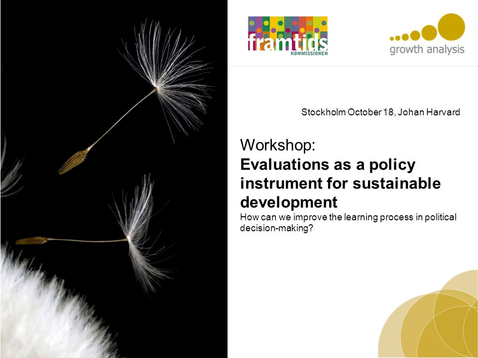 Workshop: Evaluations as a policy instrument for sustainable development How can we improve the learning process in political decision-making? Stockho