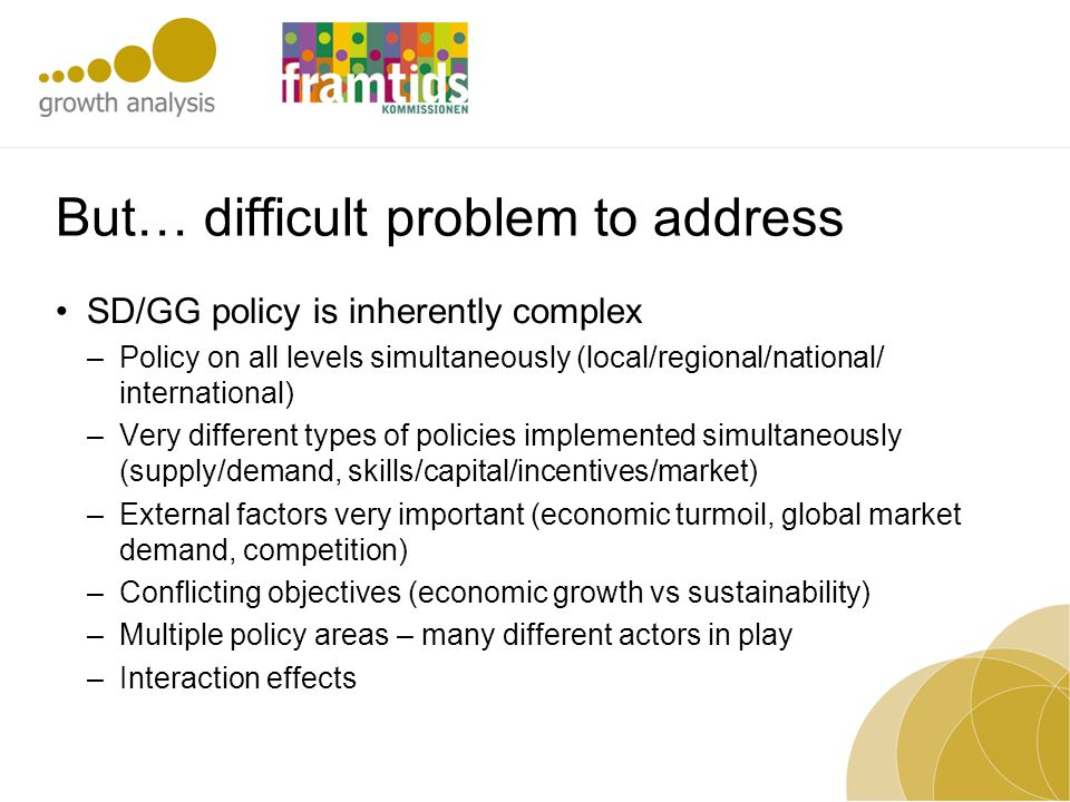 But… difficult problem to address SD/GG policy is inherently complex –Policy on all levels simultaneously (local/regional/national/ international) –Ve