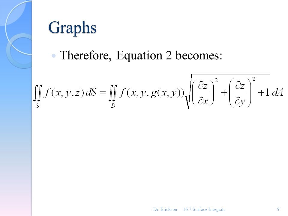 Graphs Similar formulas apply when it is more convenient to project S onto the yz-plane or xy-plane.