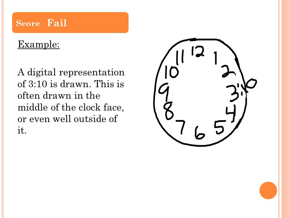 Example: A digital representation of 3:10 is drawn. This is often drawn in the middle of the clock face, or even well outside of it. Score Fail