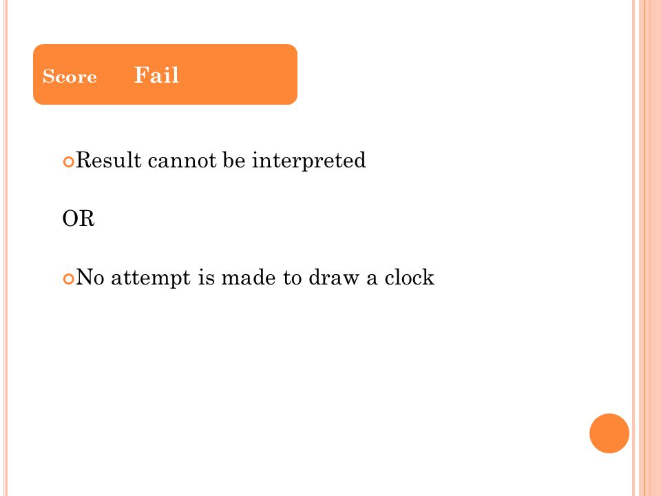 Result cannot be interpreted OR No attempt is made to draw a clock Score Fail