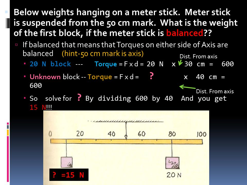  Below weights hanging on a meter stick. Meter stick is suspended from the 50 cm mark. What is the weight of the first block, if the meter stick is b