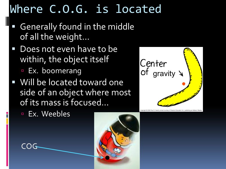 Where C.O.G. is located  Generally found in the middle of all the weight…  Does not even have to be within, the object itself  Ex. boomerang  Will
