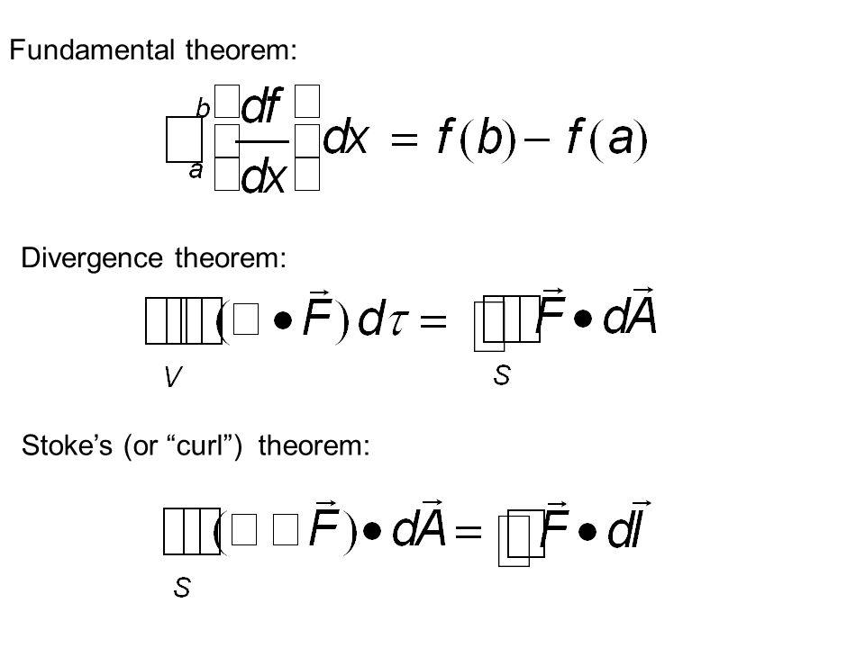 Divergence theorem: Stoke's (or curl ) theorem: Fundamental theorem: