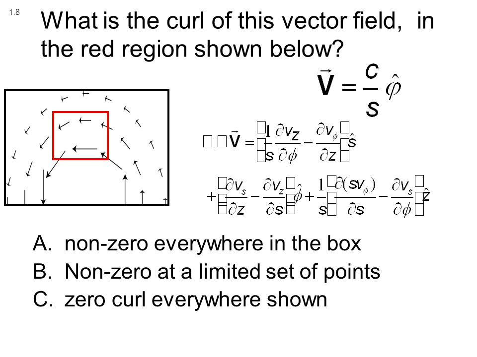 What is the curl of this vector field, in the red region shown below.