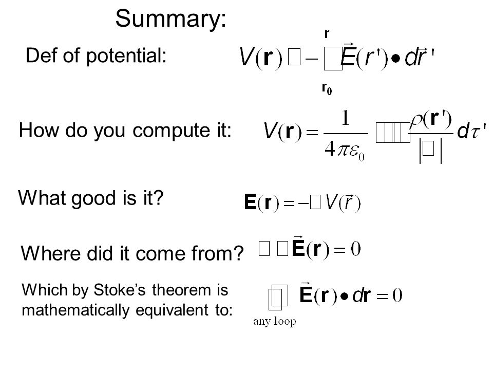 Summary: Def of potential: How do you compute it: What good is it.