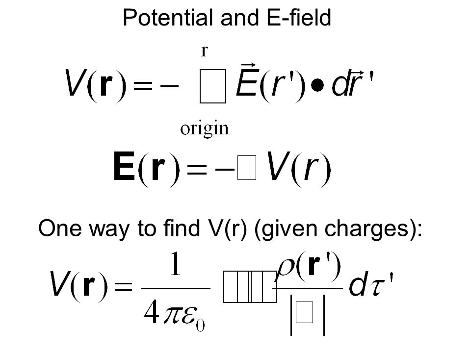 Potential and E-field One way to find V(r) (given charges):