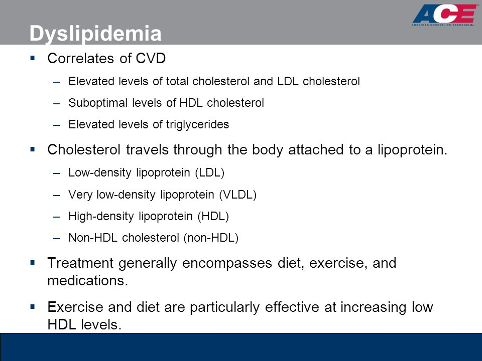 Dyslipidemia  Correlates of CVD –Elevated levels of total cholesterol and LDL cholesterol –Suboptimal levels of HDL cholesterol –Elevated levels of t