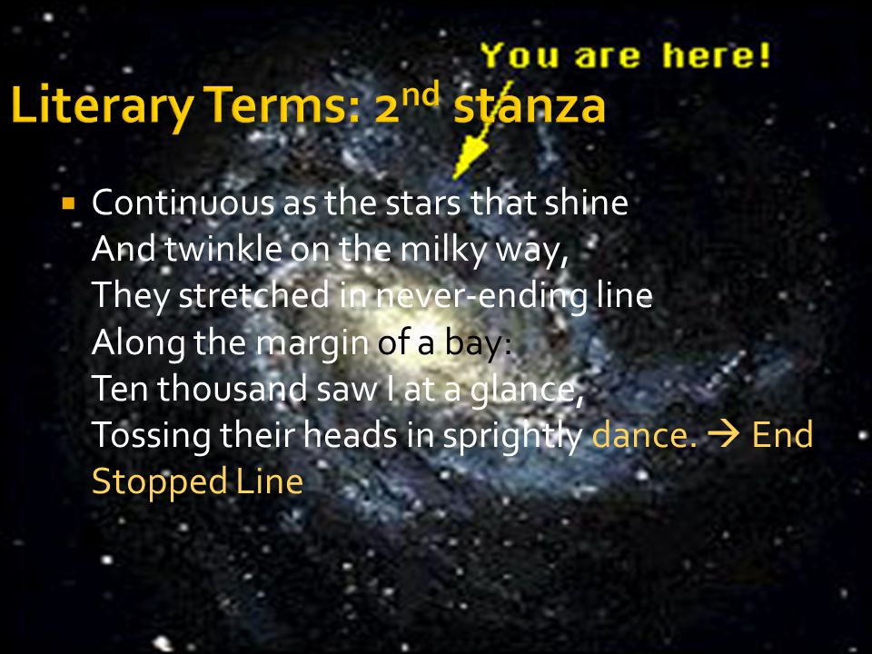  Continuous as the stars that shine And twinkle on the milky way, They stretched in never-ending line Along the margin of a bay: Ten thousand saw I a