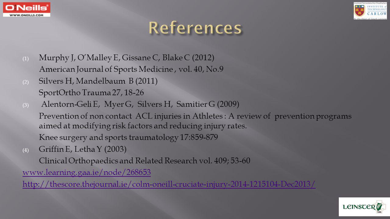 (1) Murphy J, O'Malley E, Gissane C, Blake C (2012) American Journal of Sports Medicine, vol. 40, No.9 (2) Silvers H, Mandelbaum B (2011) SportOrtho T
