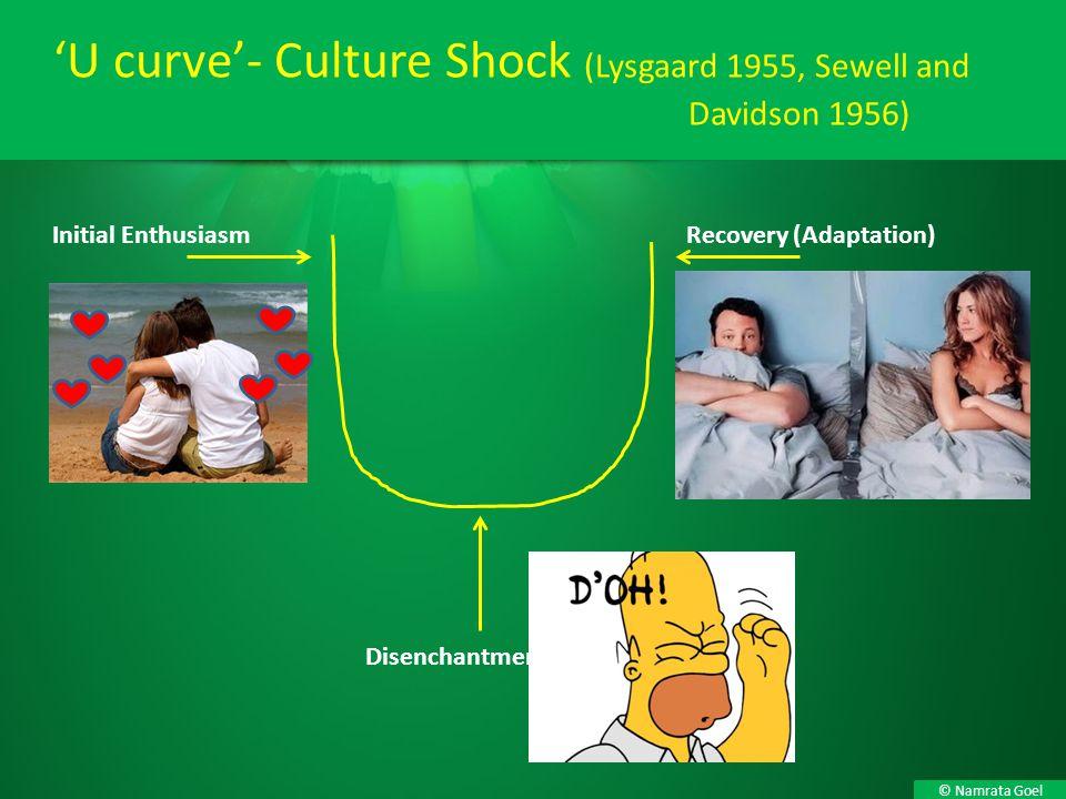 © Namrata Goel 'U curve'- Culture Shock (Lysgaard 1955, Sewell and Davidson 1956) Disenchantment Initial EnthusiasmRecovery (Adaptation)