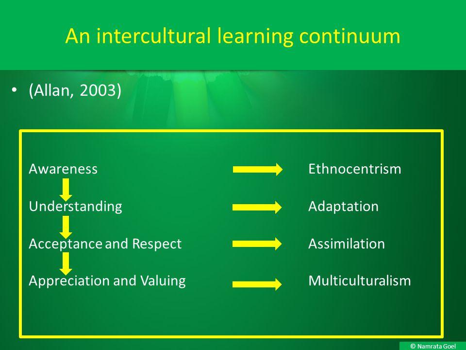 © Namrata Goel (Allan, 2003) AwarenessEthnocentrism UnderstandingAdaptation Acceptance and RespectAssimilation Appreciation and ValuingMulticulturalis