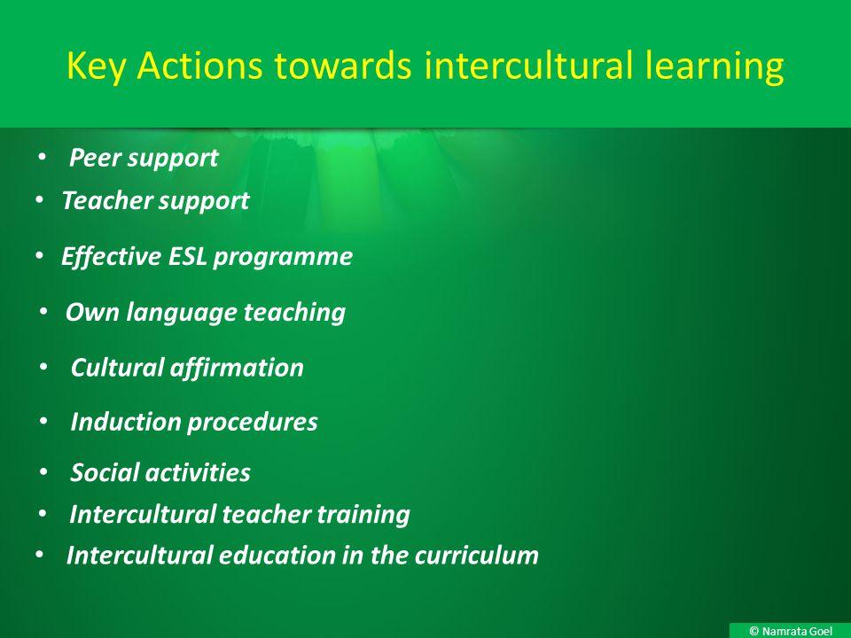 © Namrata Goel Peer support Key Actions towards intercultural learning Teacher support Effective ESL programme Own language teaching Cultural affirmat