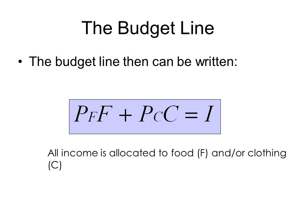The Budget Line The budget line then can be written: All income is allocated to food (F) and/or clothing (C)