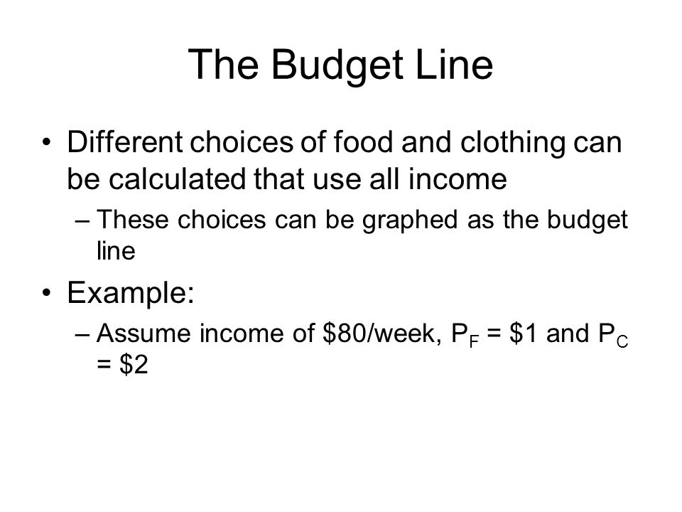 The Budget Line Different choices of food and clothing can be calculated that use all income –These choices can be graphed as the budget line Example: –Assume income of $80/week, P F = $1 and P C = $2