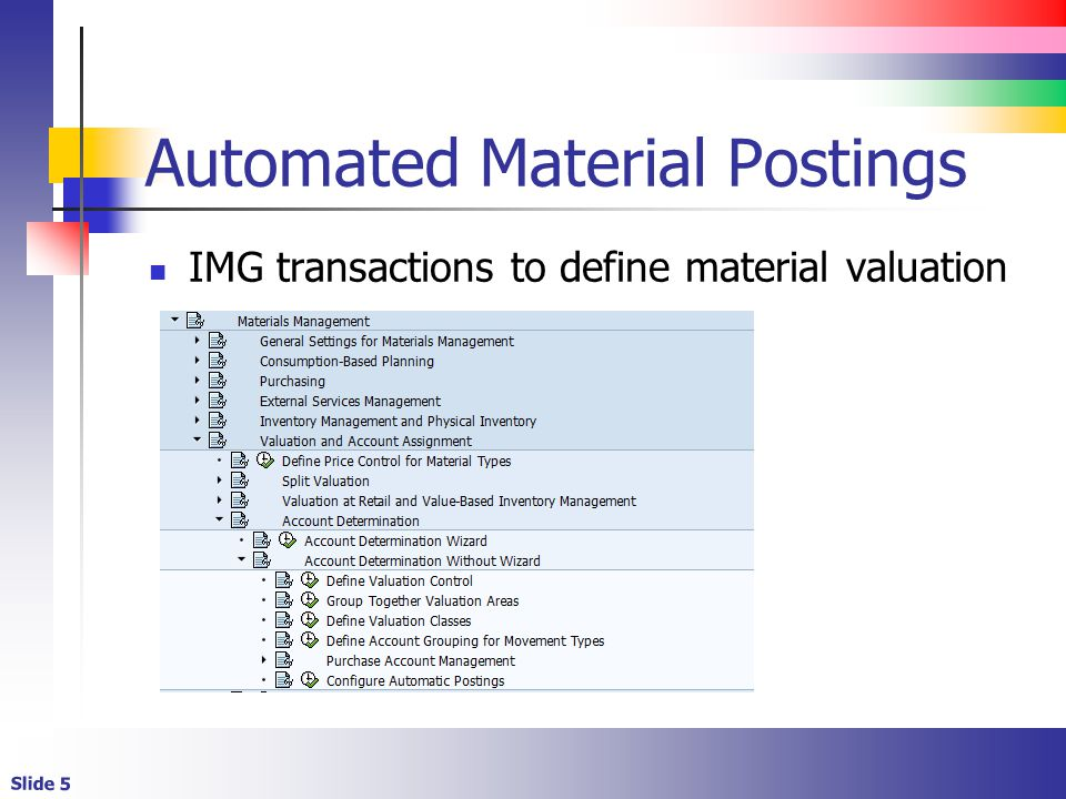 Slide 5 Automated Material Postings IMG transactions to define material valuation