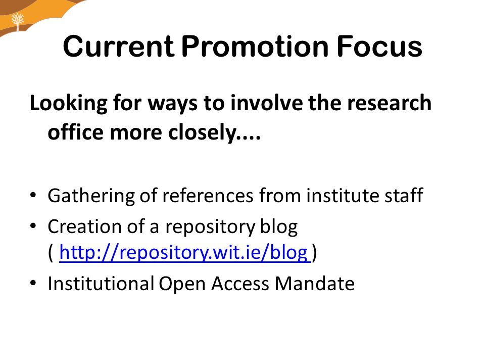 Current Promotion Focus Looking for ways to involve the research office more closely....