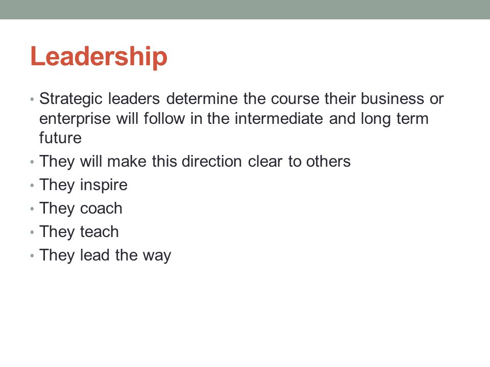 Leadership Strategic leaders determine the course their business or enterprise will follow in the intermediate and long term future They will make thi