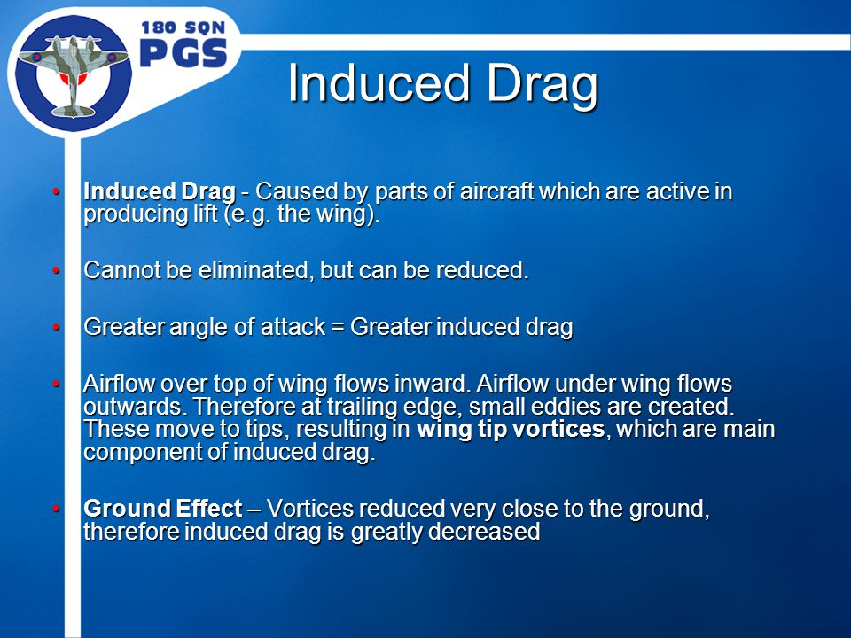 Induced Drag Induced Drag - Caused by parts of aircraft which are active in producing lift (e.g. the wing).Induced Drag - Caused by parts of aircraft