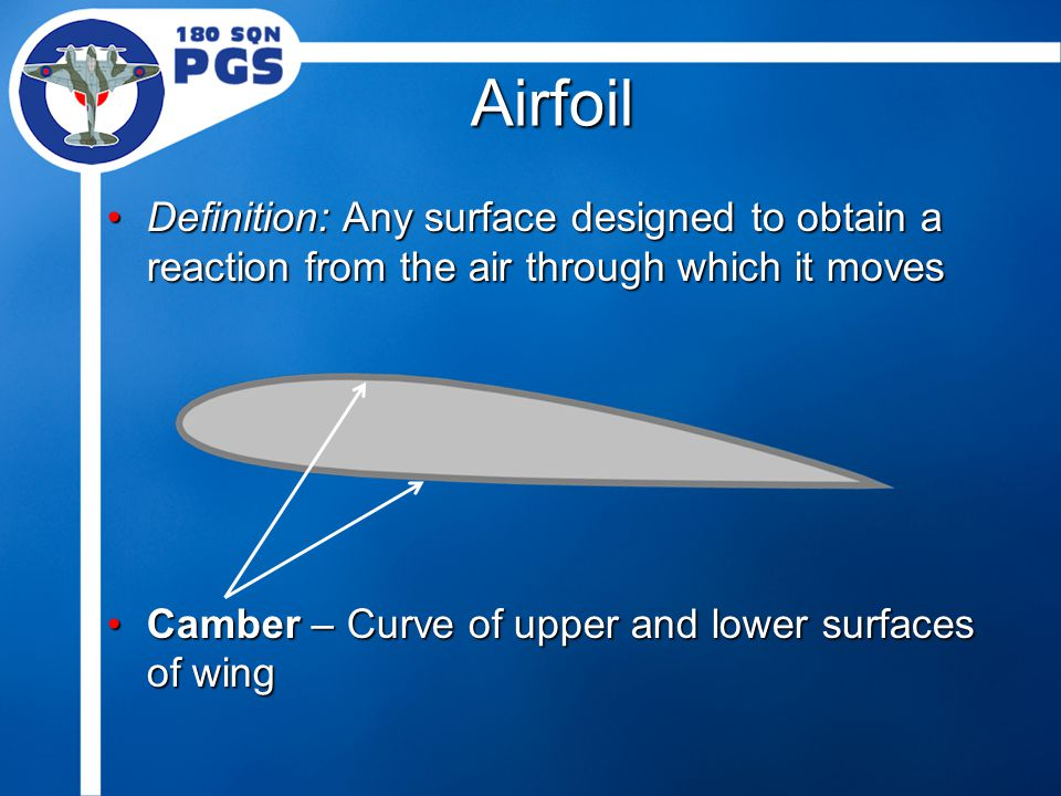 Airfoil Definition: Any surface designed to obtain a reaction from the air through which it movesDefinition: Any surface designed to obtain a reaction