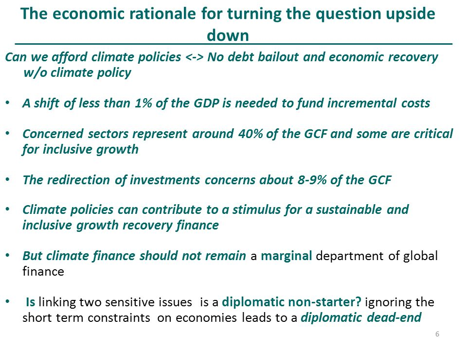 The economic rationale for turning the question upside down Can we afford climate policies No debt bailout and economic recovery w/o climate policy A
