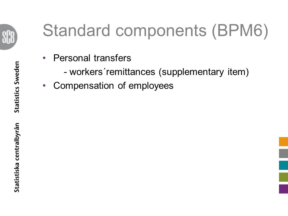 Standard components (BPM6) Personal transfers - workers´remittances (supplementary item) Compensation of employees