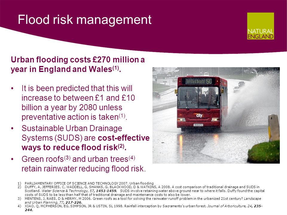 Urban flooding costs £270 million a year in England and Wales (1).