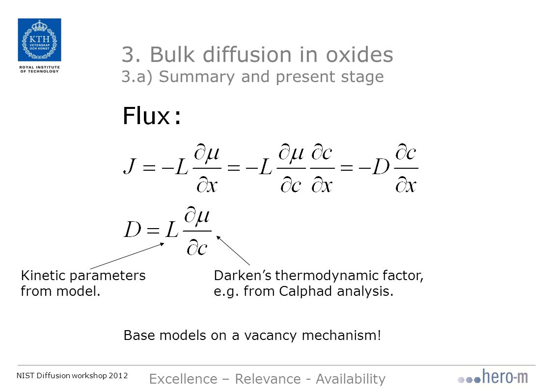 NIST Diffusion workshop 2012 Excellence – Relevance - Availability At low oxygen potentials it seems reasonable that oxygen diffusion is assisted by anion vacancies.