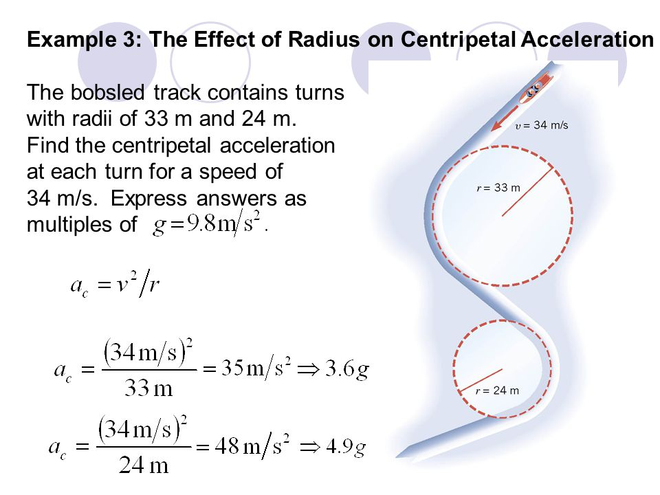 Example 3: The Effect of Radius on Centripetal Acceleration The bobsled track contains turns with radii of 33 m and 24 m.