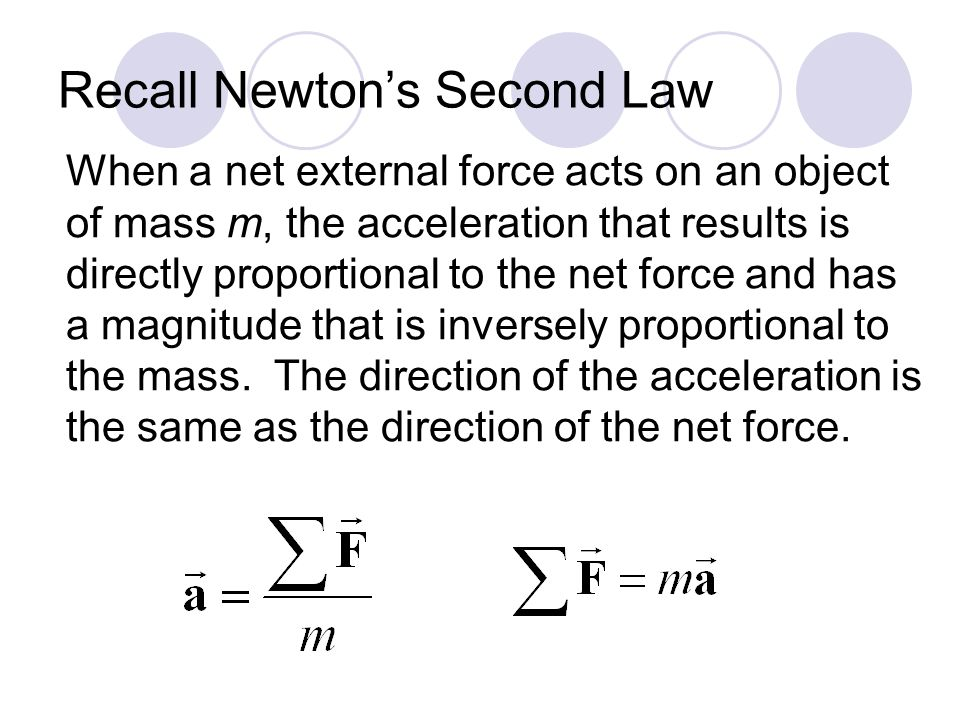 Recall Newton's Second Law When a net external force acts on an object of mass m, the acceleration that results is directly proportional to the net force and has a magnitude that is inversely proportional to the mass.