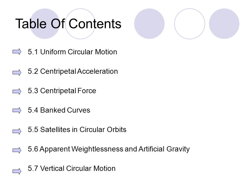 Table Of Contents 5.1 Uniform Circular Motion 5.2 Centripetal Acceleration 5.3 Centripetal Force 5.4 Banked Curves 5.5 Satellites in Circular Orbits 5.6 Apparent Weightlessness and Artificial Gravity 5.7 Vertical Circular Motion