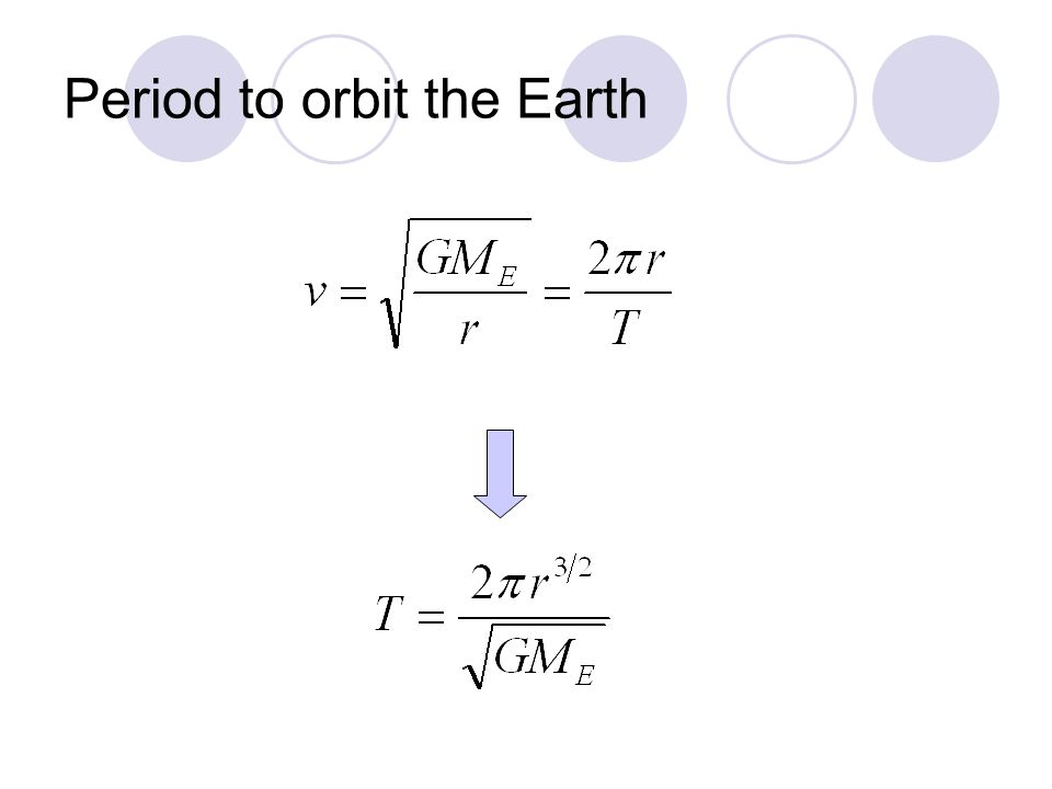 Period to orbit the Earth
