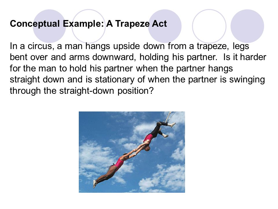Conceptual Example: A Trapeze Act In a circus, a man hangs upside down from a trapeze, legs bent over and arms downward, holding his partner. Is it ha