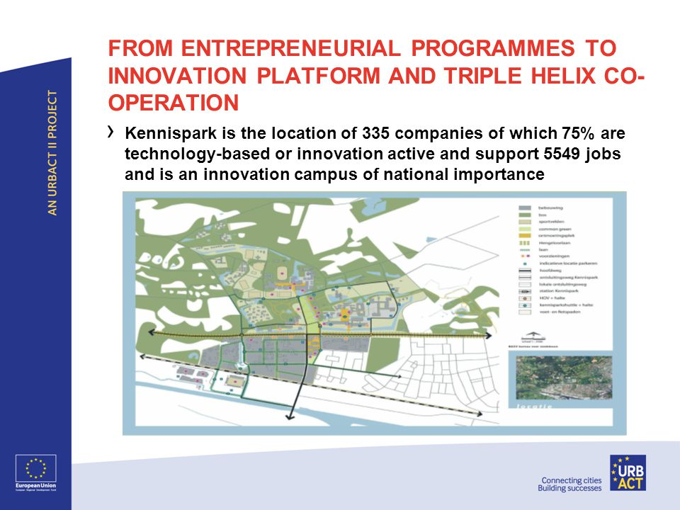 FROM ENTREPRENEURIAL PROGRAMMES TO INNOVATION PLATFORM AND TRIPLE HELIX CO- OPERATION › Kennispark is the location of 335 companies of which 75% are technology-based or innovation active and support 5549 jobs and is an innovation campus of national importance