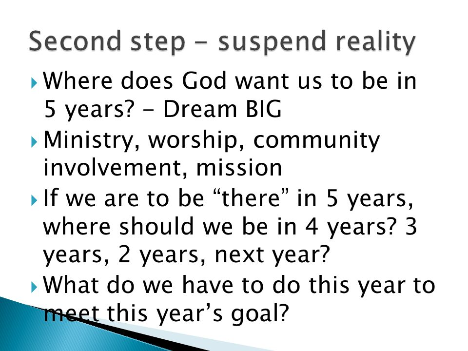  Where does God want us to be in 5 years.