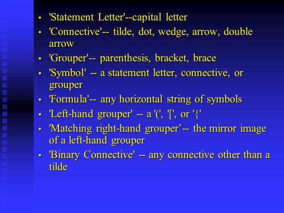 Statement Letter --capital letter Statement Letter --capital letter Connective -- tilde, dot, wedge, arrow, double arrow Connective -- tilde, dot, wedge, arrow, double arrow Grouper -- parenthesis, bracket, brace Grouper -- parenthesis, bracket, brace Symbol -- a statement letter, connective, or grouper Symbol -- a statement letter, connective, or grouper Formula -- any horizontal string of symbols Formula -- any horizontal string of symbols Left-hand grouper -- a ( , [ , or { Left-hand grouper -- a ( , [ , or { Matching right-hand grouper'-- the mirror image of a left-hand grouper Matching right-hand grouper'-- the mirror image of a left-hand grouper Binary Connective -- any connective other than a tilde Binary Connective -- any connective other than a tilde