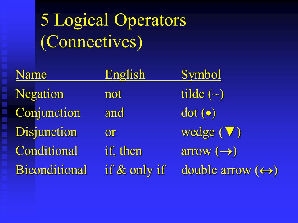 5 Logical Operators (Connectives) NameEnglish Symbol Negationnot tilde (~) Conjunctionand dot (  ) Disjunctionor wedge ( ▼ ) Conditionalif, then arrow (  ) Biconditionalif & only if double arrow (  )