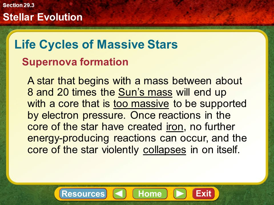 Stellar Evolution Section 29.3 Life Cycles of Massive Stars Supernova formation A star that begins with a mass between about 8 and 20 times the Sun's
